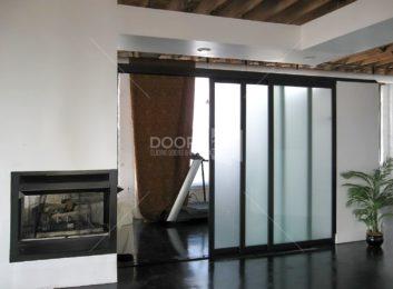 Black Frosted 3 door room divider 3 inch frame