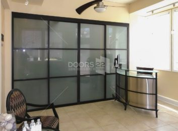 Black trio frosted foyer office 4 doors