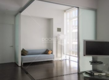 Silver Frosted Lshape Room Divider stacked open