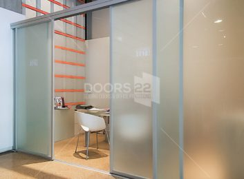 Silver frosted room divider loft system open