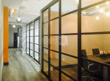 charcoal clear pentagon design 100 high open air office fronts NY