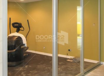 silver clear 3 inch frame basement workout room