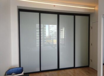3. Black frames, frosted glass, 4 panels, 120w by 96h $1898