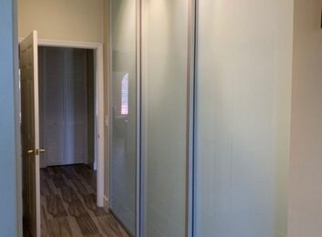 3. Silver frames, opaque glass, 3 panels, 114w by 108h $1964