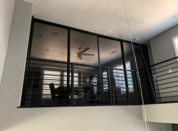 4. Black frames, smoked glass, 4 panels, 120w by 96h $1898