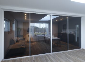 8. Silver frames, smoked glass, 4 panels, 144w by 96h $2159