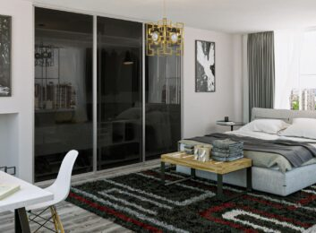 9. Silver frames, smoked glass, 3 panels, 108w by 96h $1655