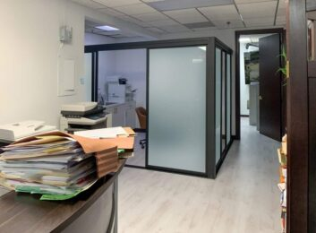 L-shape glass office walls