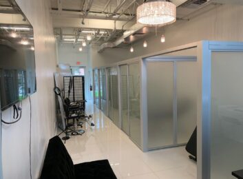 Sliver frames, frosted glass, open air system