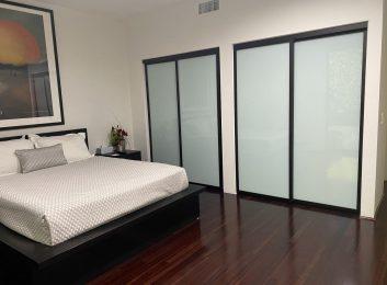 Sliding Glass Wardrobe Doors Black Frame Milky