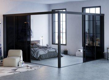 L Shape Glass Room Divider Smoked Dark Fort Lauderdale FL