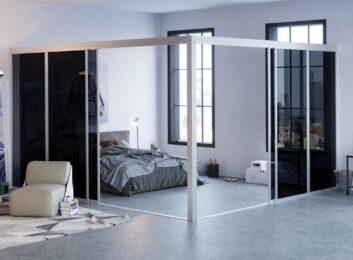L-Shape Glass Room Divider
