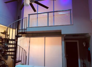 Glass room dividers loft closed