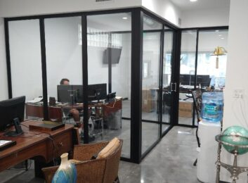 glass office walls after