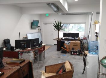 glass office before